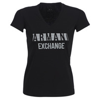 material Women short-sleeved t-shirts Armani Exchange HELBATA Black