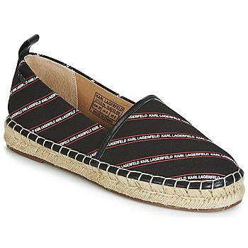 Shoes Women Espadrilles Karl Lagerfeld KAMINI STRIPE LOGO SLIP Black