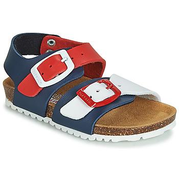 Shoes Children Sandals Garvalin BIO  BOY Marine / Red / White