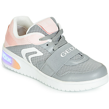 Shoes Girl High top trainers Geox J XLED GIRL Grey / Pink / Led
