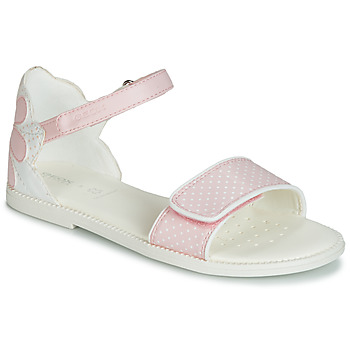 Shoes Girl Sandals Geox J SANDAL KARLY GIRL White / Pink