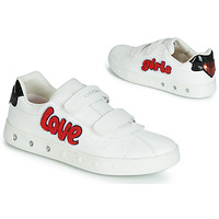 Shoes Girl Low top trainers Geox J SKYLIN GIRL White / Red