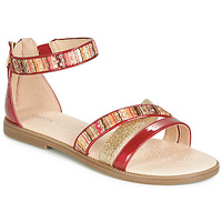 Shoes Girl Sandals Geox J SANDAL KARLY GIRL Red / Gold