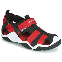 Shoes Boy Sports sandals Geox JR WADER Black / Red