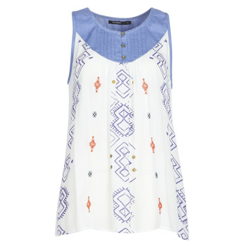 material Women Tops / Sleeveless T-shirts Desigual MEKANE White / Blue