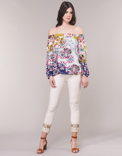 material Women straight jeans Desigual SARI WHITE Marine