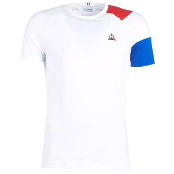 material Men short-sleeved t-shirts Le Coq Sportif ESS Tee SS N°10 M White / Red / Blue