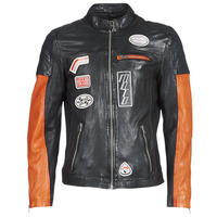 material Men Leather jackets / Imitation le Oakwood INDIE Black / Orange