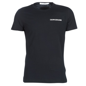 material Men short-sleeved t-shirts Calvin Klein Jeans CHEST INSTITUTIONAL SLIM SS TEE Black
