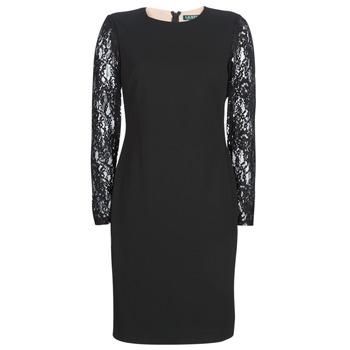 material Women Short Dresses Lauren Ralph Lauren LACE PANEL JERSEY DRESS Black