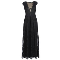 material Women Long Dresses Lauren Ralph Lauren CAP SLEEVE LACE EVENING DRESS Black