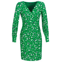 material Women Short Dresses Lauren Ralph Lauren FLORAL PRINT-LONG SLEEVE-JERSEY DAY DRESS Green