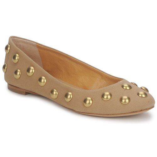 Shoes Women Ballerinas Keyté CANDY TESSU Beige