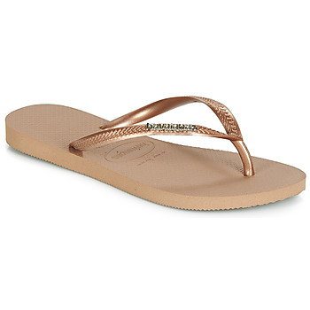 Shoes Women Flip flops Havaianas SLIM LOGO METALLIC Pink / Gold