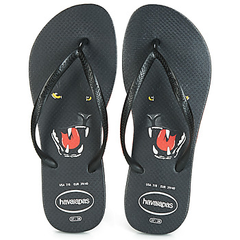 Shoes Women Flip flops Havaianas SLIM ANIMAL PRINT Black