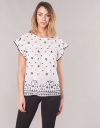 material Women Blouses Maison Scotch SHORT SLEEVES SHIRT White / Black