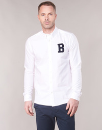material Men long-sleeved shirts Scotch & Soda REGULAR FIT AMS BLAUW OXFORD SHIRT WITH BADGE White