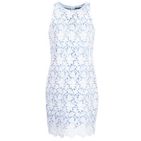 material Women Short Dresses Benetton ROBY White / Blue