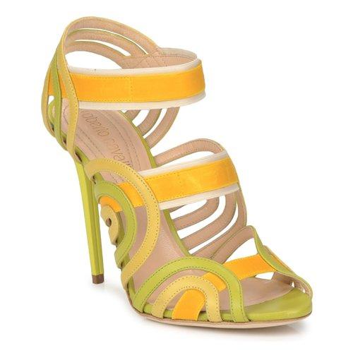 Shoes Women Sandals Roberto Cavalli RPS691 Green / Yellow