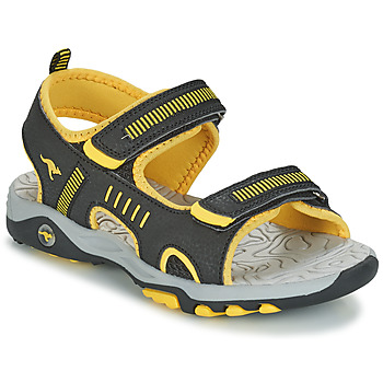 Shoes Boy Sandals Kangaroos K-LOGAN Black / Yellow