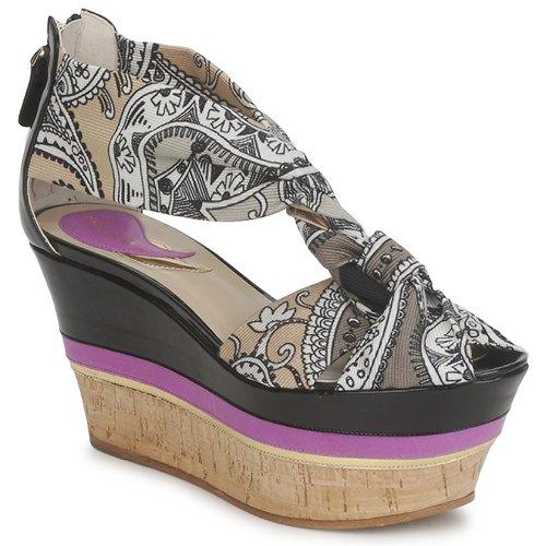Shoes Women Sandals Etro 3467 Grey / Black / Violet