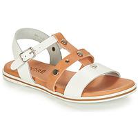 Shoes Boy Sandals André MILAN White / Camel