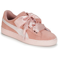 Shoes Girl Low top trainers Puma JR SUEDE HEART JEWEL.PEACH Pink