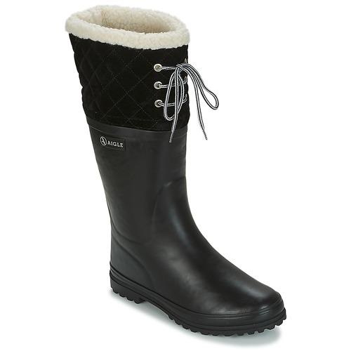 Shoes Women Wellington boots Aigle POLKA GIBOULEE Black