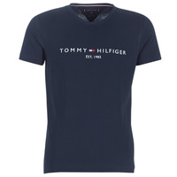 material Men short-sleeved t-shirts Tommy Hilfiger TOMMY FLAG HILFIGER TEE Marine