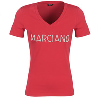 material Women short-sleeved t-shirts Marciano LOGO PATCH CRYSTAL Red