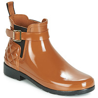 Shoes Women Wellington boots Hunter REFINED GLOSS QUILT CHELSEA Camel