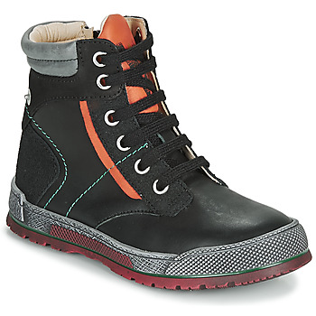 Shoes Boy Mid boots Achile MANUEL Black / Orange