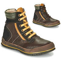 Shoes Boy Mid boots Achile MANUEL Brown / Yellow