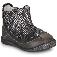 Shoes Girl Mid boots Ikks SCARLET Black / Silver
