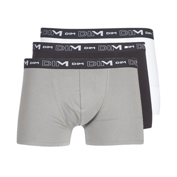 Underwear Men Boxer shorts DIM COTON STRETCH X3 Black / Grey / White