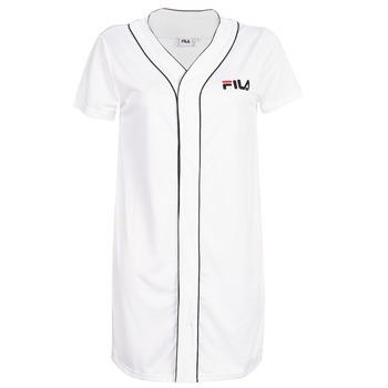 material Women Short Dresses Fila WOMEN ROBIN button baseball dr White