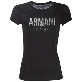 material Women short-sleeved t-shirts Armani Exchange 8NYT98-Y9C8Z-1200 Black