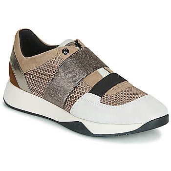 Shoes Women Low top trainers Geox D SUZZIE Taupe / Silver