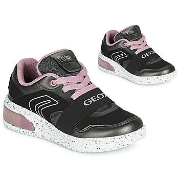 Shoes Girl High top trainers Geox J XLED GIRL Black / Pink / Led