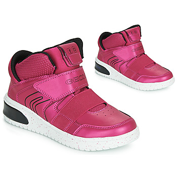 Shoes Girl High top trainers Geox J XLED GIRL Pink / Fuschia / Black / Led
