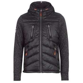 material Men Duffel coats Superdry STORM HYBRID ZIPHOOD Black