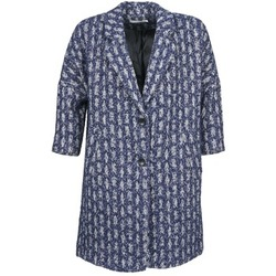 material Women coats See U Soon RIFFLE Blue / White
