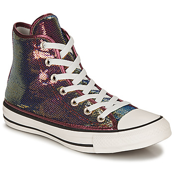 Shoes Women High top trainers Converse CHUCK TAYLOR ALL STAR MINISEQUINS HI Pink / Silver