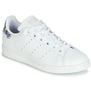 Shoes Girl Low top trainers adidas Originals STAN SMITH J White / Silver