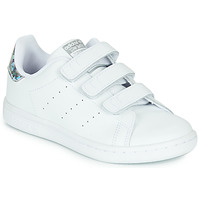 Shoes Girl Low top trainers adidas Originals STAN SMITH CF C White / Silver