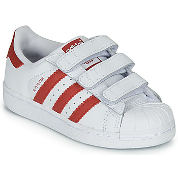 Shoes Children Low top trainers adidas Originals SUPERSTAR CF C White / Red