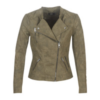 material Women Leather jackets / Imitation le Only ONLAVA Kaki