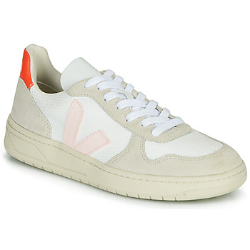 Shoes Women Low top trainers Veja V-10 White / Orange / Pink