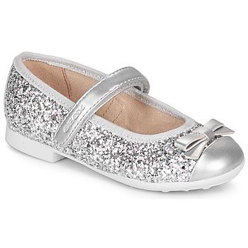 Shoes Girl Ballerinas Geox JR PLIE' Silver