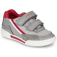 Shoes Boy Low top trainers Geox J POSEIDO BOY Grey / Red